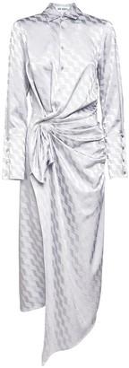 ATTICO Logo Jacquard Satin Midi Shirt Dress