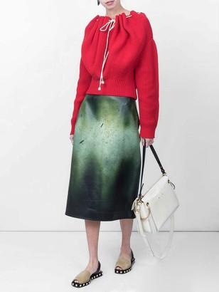 Calvin Klein Printed Glossed-leather Midi Skirt