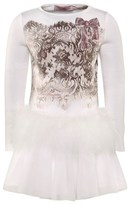 Miss Blumarine Ivory Lace Print Dress with Feathered Detail