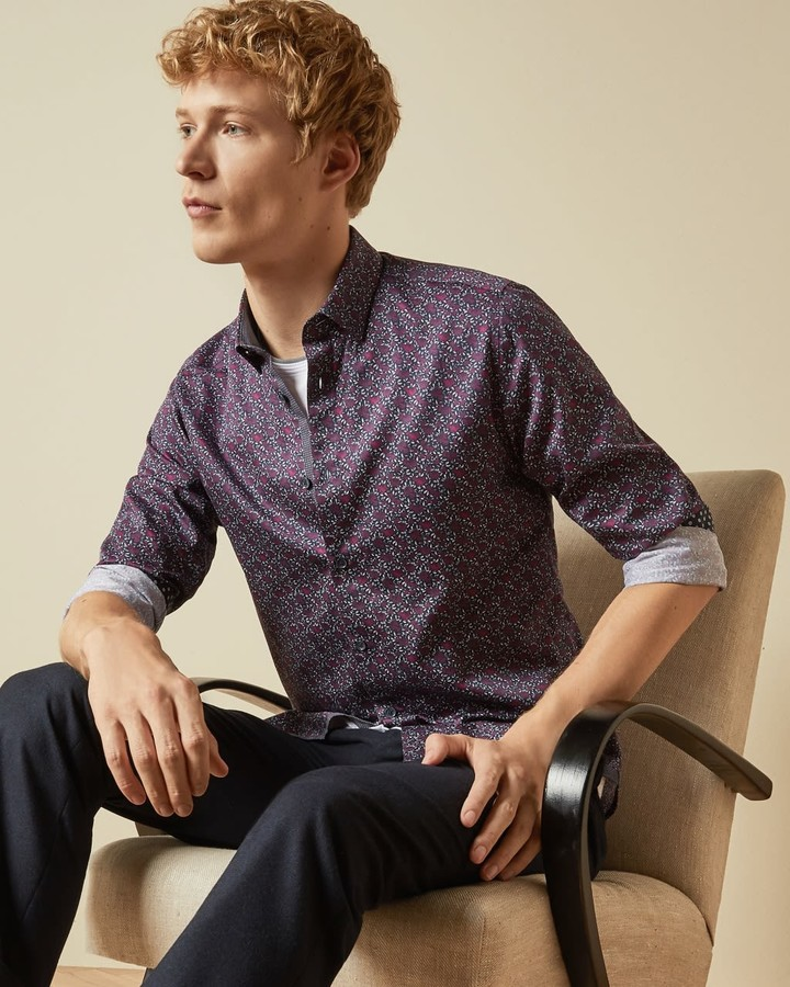 Ted Baker Small Floral Print Cotton Shirt