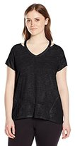 Calvin Klein Women's Plus Size Knit Cut Out Shoulder Tee