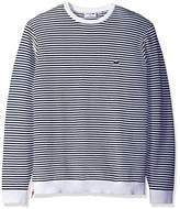 Lacoste Men's Made In France Stripe Crew With Side Zipper Sweater, AH3007