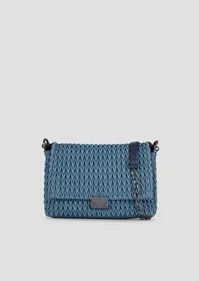 Emporio Armani Large Cross-Body Bag In Quilted Denim With Drop Motif