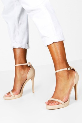 boohoo Barely There Single Platform Two Part Heels