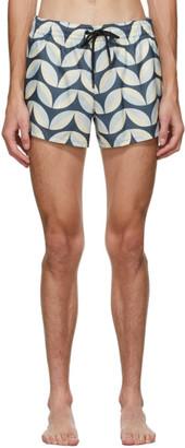 COMMAS Blue and Beige Pavilion Tile Short Length Swim Shorts