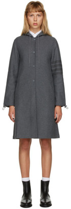 Thom Browne Grey Double-Faced Tech Twill 4-Bar Hooded Parka