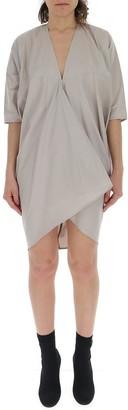 Rick Owens Asymmetric V-Neck Mini Dress