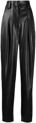 BROGNANO Faux Leather Straight-Leg Trousers
