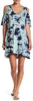 Hip Tye-Dye Cold Shoulder T-Shirt Dress