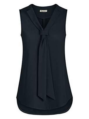 Moyabo Woman's Tank Top V Neck Sleeveless Blouses for Women Plus Size Chiffon Tank Tops with Tie