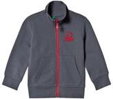 Benetton Dark Grey Jersey Zip Jacket With Logo