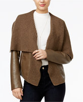 GUESS Aileen Faux-Leather Sweater Jacket