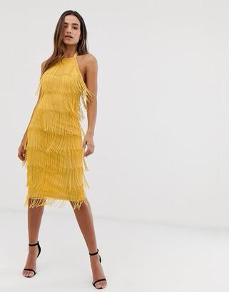 Asos Design DESIGN Embellished fringe halter neck midi dress-Yellow