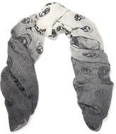Alexander McQueen Ombré Herringbone Printed Chiffon Scarf - Gray