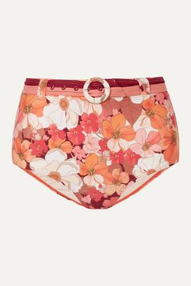 Peony Swimwear + Net Sustain Belted Floral-print Bikini Briefs - Red