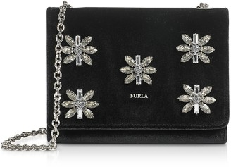 Furla Velvet and Crystals Viva Mini Pochette w/Shoulder Strap