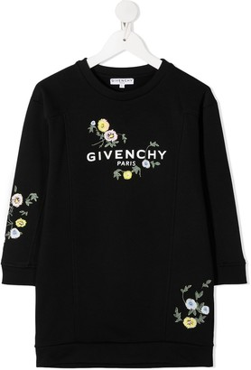 Givenchy Kids Floral Embroidery Sweater Dress