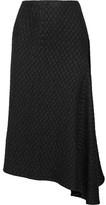 Victoria Beckham Draped Matelassé Midi Skirt - Black