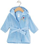 SpaSilk 100% Cotton Hooded Velour Bathrobe - Blue Bear - One Size