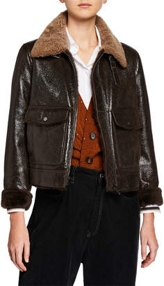 Brunello Cucinelli Buffed Leather Aviator Jacket