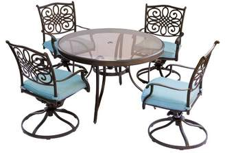 Hanover Traditions 5pc Round Metal Patio Dining Set - Blue