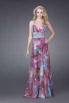 La Femme Printed Long Dress with Plunging Neckline 15303