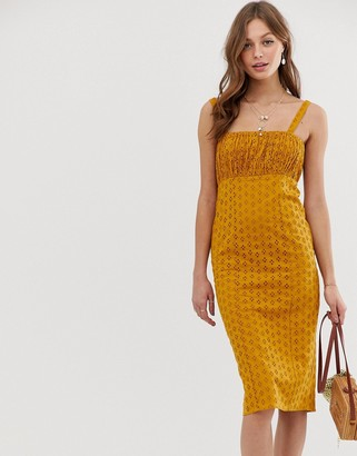 ASOS DESIGN broderie midi sundress with ruched bust