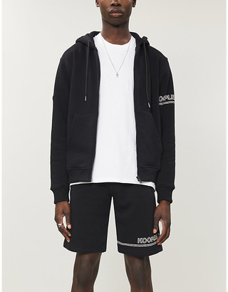 The Kooples Sport Branded relaxed-fit cotton-blend jersey hoody