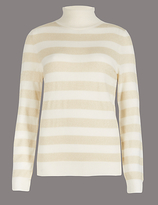 Autograph Cashmere Rich Striped Roll Neck Jumper