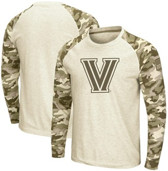 Colosseum Men's Oatmeal Villanova Wildcats OHT Military Appreciation Desert Camo Raglan Long Sleeve T-Shirt