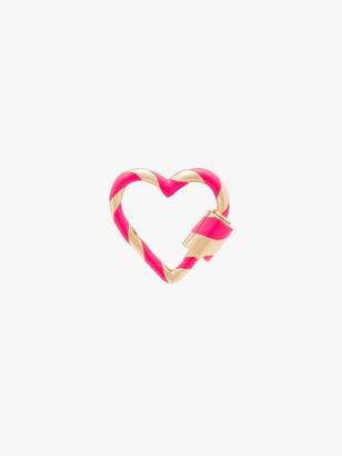 Marla Aaron 14K yellow gold striped enamel heart lock charm