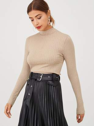 Very Ribbed High Neck Top - Camel