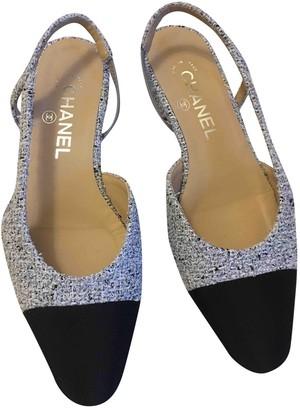 Chanel Slingback Blue Tweed Ballet flats