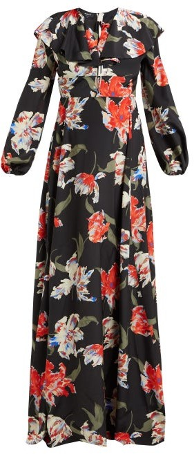 Rochas Tulip-print Silk Gown - Black