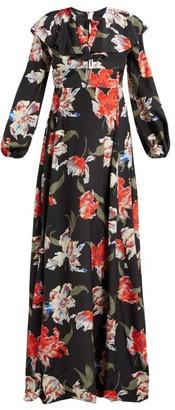 Rochas Tulip-print Silk Gown - Womens - Black