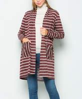 Sweet Pea Burgundy Stripe Front-Pocket Open Cardigan