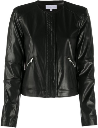 Patrizia Pepe Faux Leather Cropped Biker Jacket