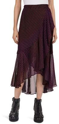 The Kooples Asymmetric-Ruffle Stitched-Dot Pattern Skirt