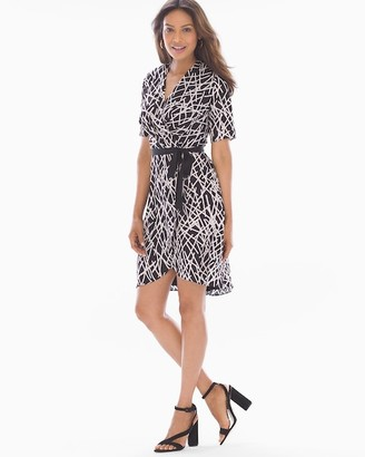 Soma Intimates Faux Wrap Dress Abstract Lines Black