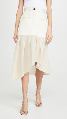 Colovos Denim Combo Asymmetric Skirt