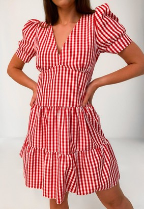 Missguided Red Gingham V Neck Tiered Smock Dress