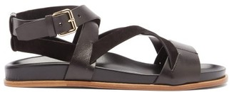 Emme Parsons Bodhi Leather And Suede Crossover Sandals - Black