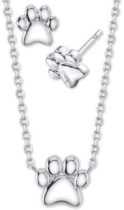 Unwritten 2-Pc. Set Paw Print Pendant Necklace & Stud Earrings in Fine Silver-Plate