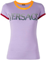 Versace contrast cuff logo T-shirt - women - Spandex/Elastane/Viscose - 40