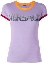 Versace contrast cuff logo T-shirt - women - Viscose/Spandex/Elastane - 40