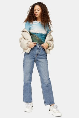 Topshop Womens Petite Mid Blue Dad Jeans - Mid Stone