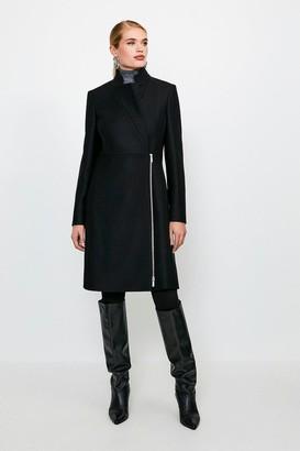 Karen Millen Italian Wool Blend Notch Neck Zip Front Coat