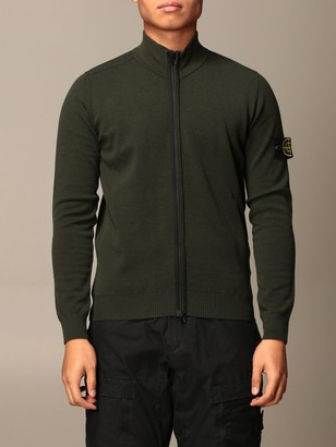 Stone Island Cardigan In Cotton With Zip