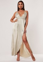 Missguided Champagne Satin Cami V Plunge Maxi Dress