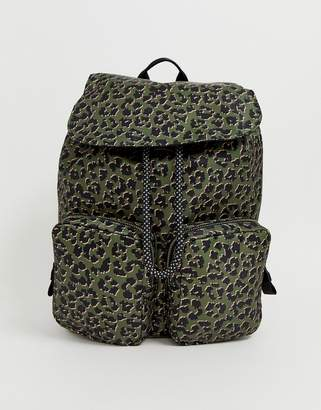 Accessorize dark leopard print hiker backpack with front pockets-Multi